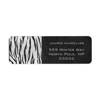 Impresión blanco y negro del tigre etiqueta de remite