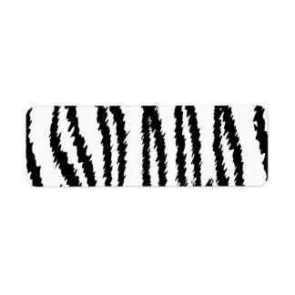 Impresión blanco y negro del tigre. Modelo del Etiqueta De Remitente