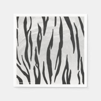 Impresión blanco y negro del tigre servilletas de papel