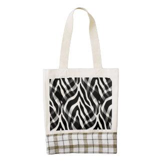 Impresión blanco y negro elegante de las rayas de bolsa tote zazzle HEART