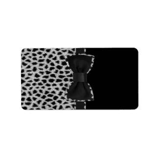 Impresión blanco y negro elegante linda de la piel etiquetas de dirección