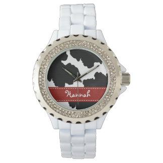 Impresión blanco y negro roja personalizada de la relojes de mano