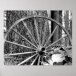 Impresión blanco y negro vieja de la rueda de carr impresiones
