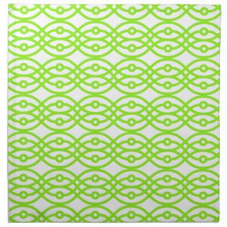 Impresión blanco y verde lima del kimono servilletas de papel