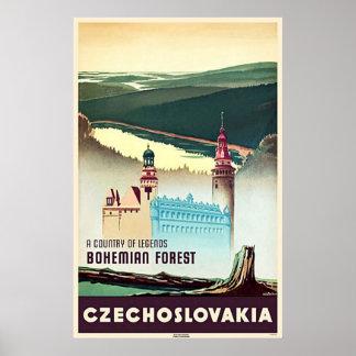 Impresión bohemia del bosque de Checoslovaquia Póster