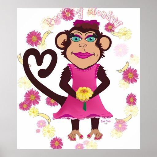 Impresión bonita de la lona del mono posters