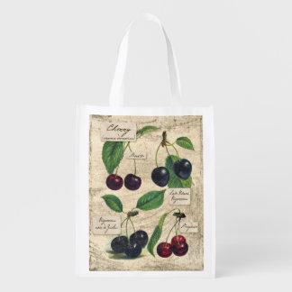 Impresión botánica de la cereza del vintage, bolso bolsas de la compra
