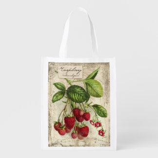 Impresión botánica de la frambuesa del vintage, bolsa para la compra
