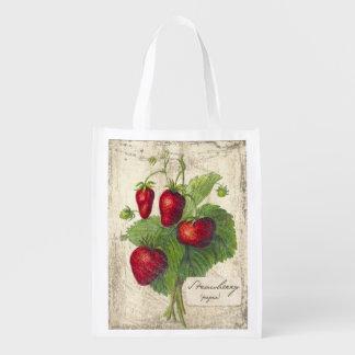 Impresión botánica de la fresa del vintage, bolso bolsas de la compra