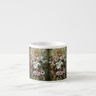 Impresión botánica de la orquídea del vintage tazas espresso