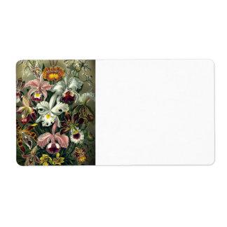 Impresión botánica de la orquídea etiquetas de envío