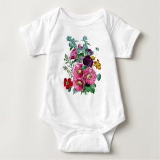 Impresión botánica - Hollyhocks y rosas Body Para Bebé