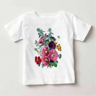Impresión botánica - Hollyhocks y rosas Playera De Bebé