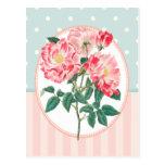 Impresión botánica subió rosa del collage del postal