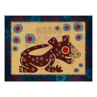IMPRESIÓN BRILLANTE de Jaguar del bebé maya Póster