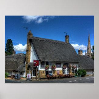 Impresión británica del Pub con el tejado cubierto Póster