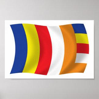 Impresión budista del poster de la bandera de la r