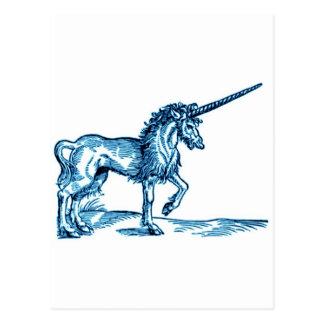 Impresión c.1551 del vintage del UNICORNIO en azul Postal