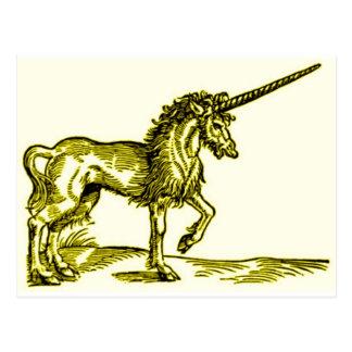 Impresión c.1551 del vintage del UNICORNIO en oro Tarjetas Postales