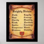 Impresión caballeresca de las virtudes posters