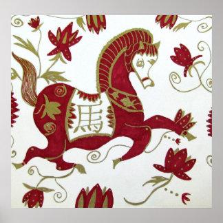 Impresión, caballo chino del zodiaco poster