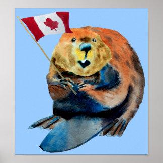 Impresión canadiense de la bandera del castor póster