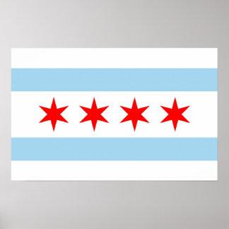 Impresión capítulo con la bandera de Chicago, los Póster