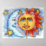 Impresión celestial y poster del arte de Sun y de