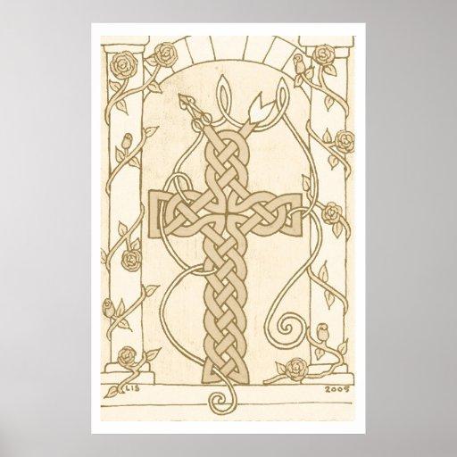 Impresión céltica Antiqued de la cruz de la serpie Poster