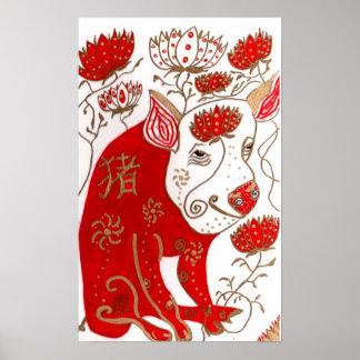 Impresión china de la astrología del cerdo poster