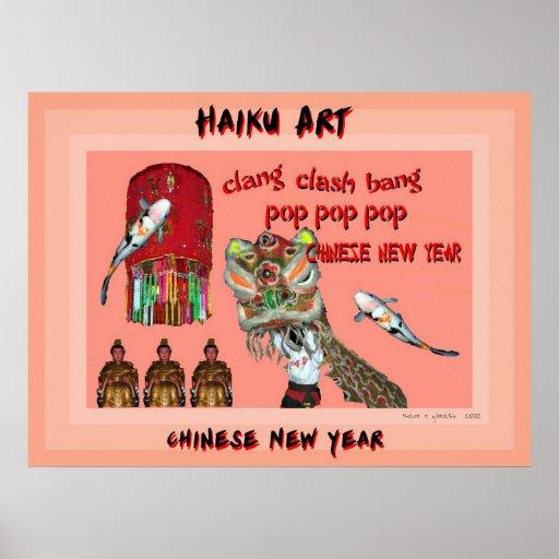 Impresión china del arte del Haiku del Año Nuevo Póster