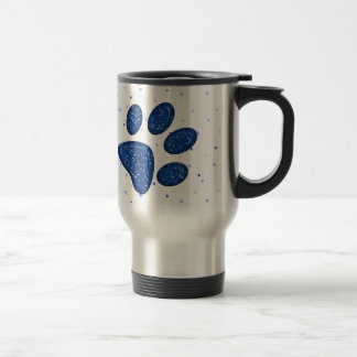 impresión chispeante de la pata del gato - azul taza de viaje