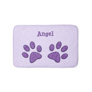 impresión chispeante de la pata del gato - púrpura