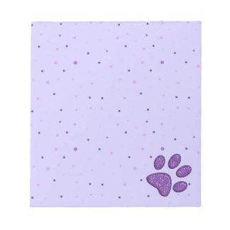 impresión chispeante de la pata del gato - púrpura libreta para notas