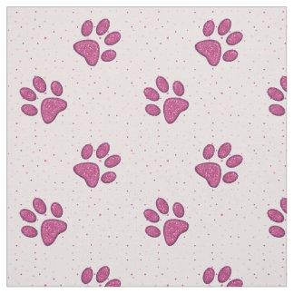 impresión chispeante de la pata del gato - rosa telas