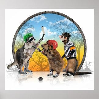 Impresión clásica del Critter del hockey Poster