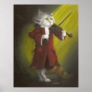 Impresión clásica del gato del violinista póster