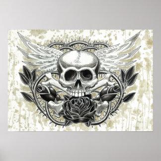 Impresión coa alas del cráneo posters