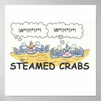 Impresión cocida al vapor del cangrejo póster