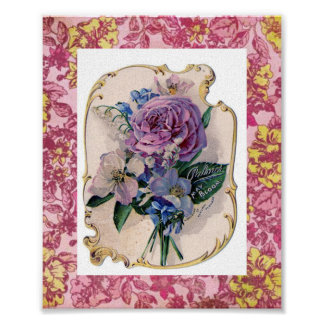 Impresión color de rosa de la puntilla póster
