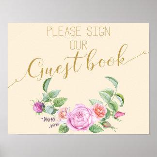 impresión color de rosa floral del Guestbook de la Póster