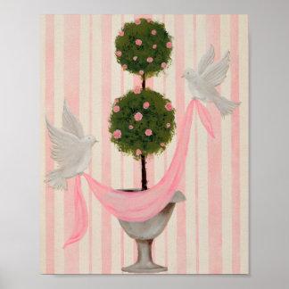 Impresión color de rosa rosada del Topiary de la b Posters