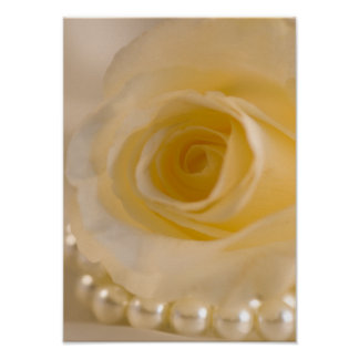 Impresión color de rosa y de las perlas del poster