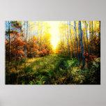 Impresión coloreada brillante del paisaje poster