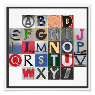 Impresión coloreada de la foto del alfabeto fotografía