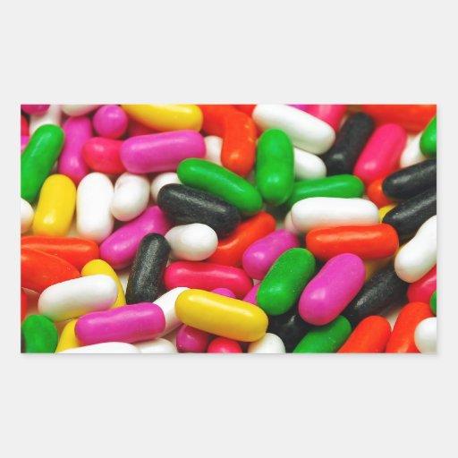 Impresión coloreada multi del caramelo pegatina rectangular