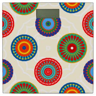 Impresión colorida brillante de la mandala báscula
