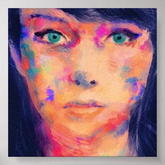 Impresión colorida de la bella arte del chica póster