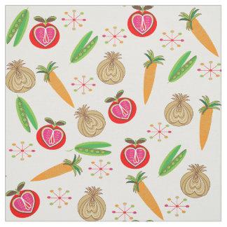 Impresión colorida de la fruta y verdura retra del telas