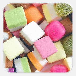 Impresión colorida de la mezcla del caramelo del pegatina cuadrada